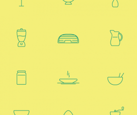 Green kitchen cutlery line icon vector
