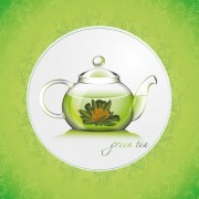 Green tea with pattern background vector