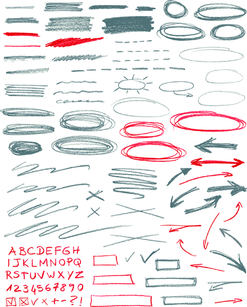 Hand drawing different signs vectors graphics 05