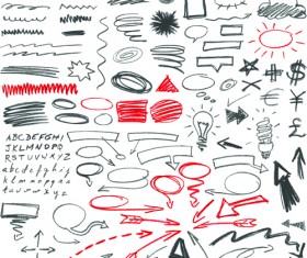 Hand drawing different signs vectors graphics 06