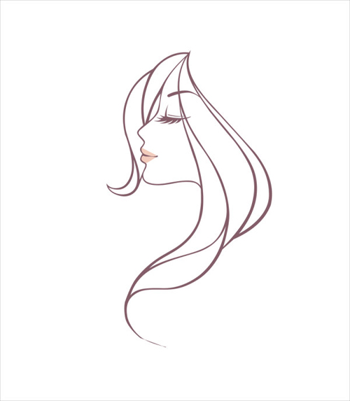 Drawing Lines Freehand : Hand drawing girl head vector graphic people free