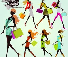 Hand drawing shopping girls vector set 02