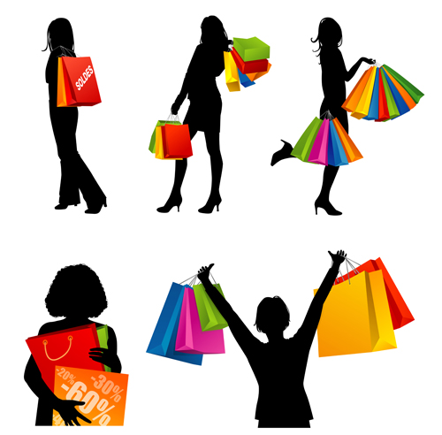 hand drawing shopping girls vector set 03   vector people