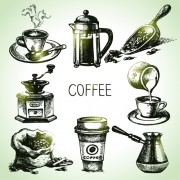 Link toHand drawn coffee elements vector icons