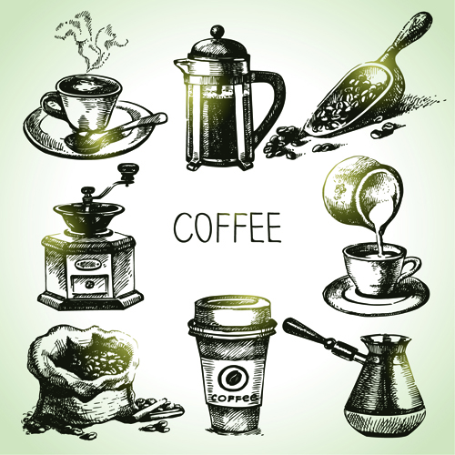 Hand drawn coffee elements vector icons