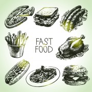 Link toHand drawn fast food design vector icons
