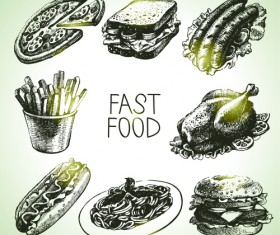 Hand drawn fast food design vector icons
