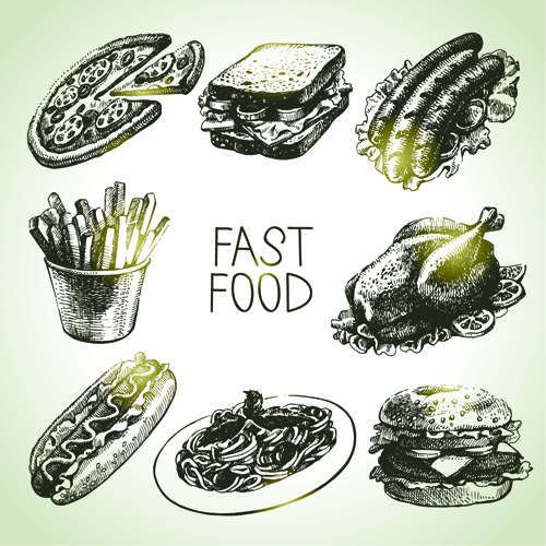 Fast Icon Design Hand Drawn Fast Food Design
