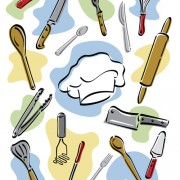 Link toHand drawn kitchen tools design vector