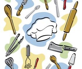 Hand drawn kitchen tools design vector