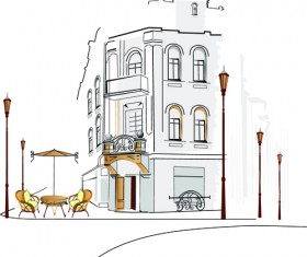 Hand drawn town streets design vector set 03