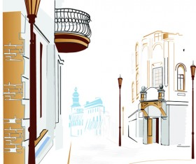 Hand drawn town streets design vector set 05