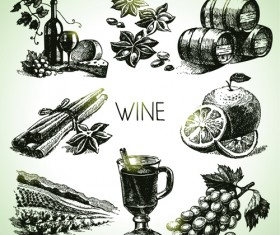 Hand drawn wine design vector icons 01