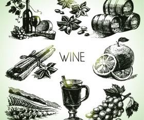 Hand drawn wine design vector icons 01