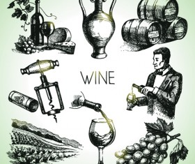 Hand drawn wine design vector icons 02