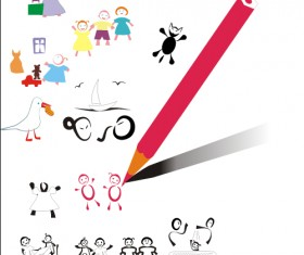 Hand drawn kids and pencil design vector