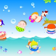 Link toHappy kids with marine vector graphics