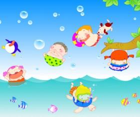 Happy kids with marine vector graphics