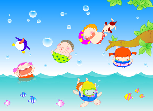 Happy kids with marine vector graphics