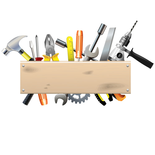Hardware Tools With Wood Boards Background Vector Free Download