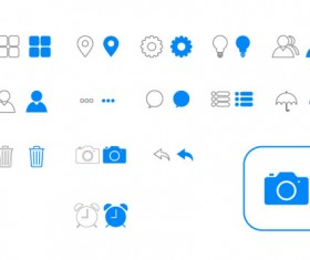 IOS7 commonly blue icons vector