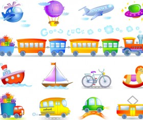 Kids toy cars and planes vector