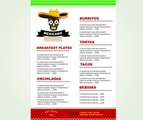 Mexican restaurant menu creative vector 01
