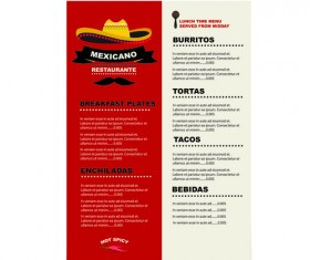Mexican restaurant menu creative vector 02