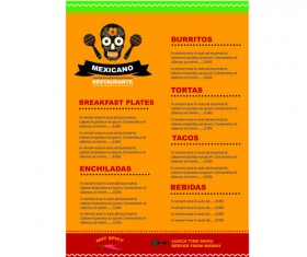 Mexican restaurant menu creative vector 03