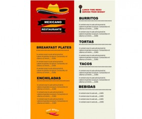 Mexican restaurant menu creative vector 04