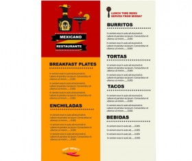 Mexican restaurant menu creative vector 05