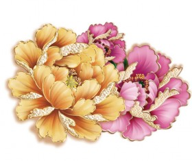 Ornate peony flower psd graphics