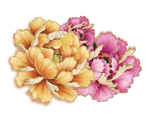 Ornate peony flower psd graphics