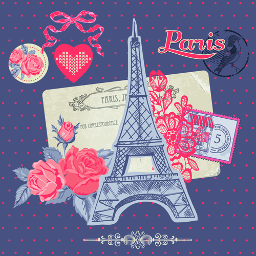 paris with romantic elements vector material – over millions, Modern powerpoint