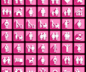 Pink people icons vector graphics