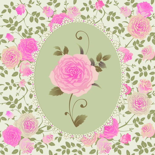 Pink rose pattern background vector material 03
