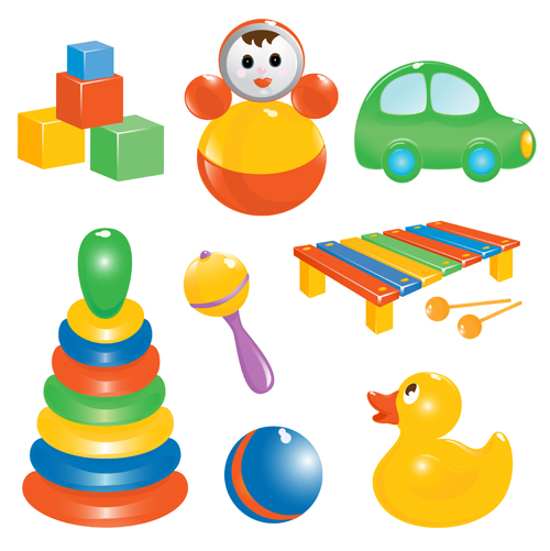 Realistic children toys creative design graphics 03