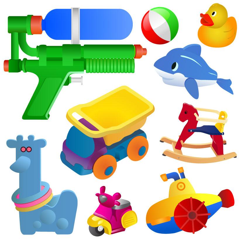 Realistic children toys creative design graphics 04