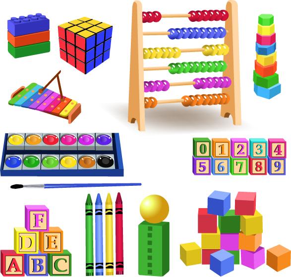 Realistic children toys creative design graphics 05