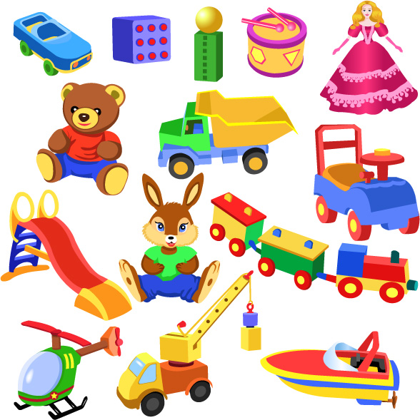Realistic children toys creative design graphics 06