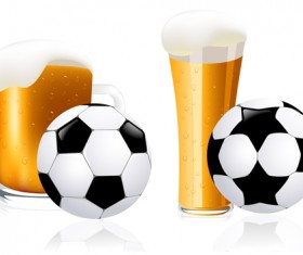 Refreshing beer with football vector