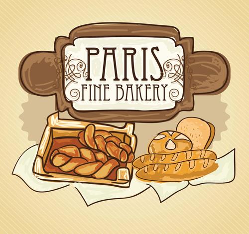 Retro bakery background vectors set 02