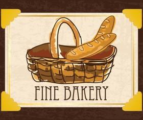Retro bakery background vectors set 06