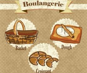 Retro bakery background vectors set 07