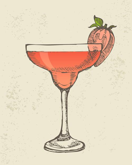 Retro cocktail design vector set 05 - Vector Food free ...