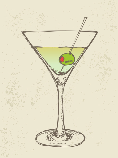 retro cocktail design vector set 06