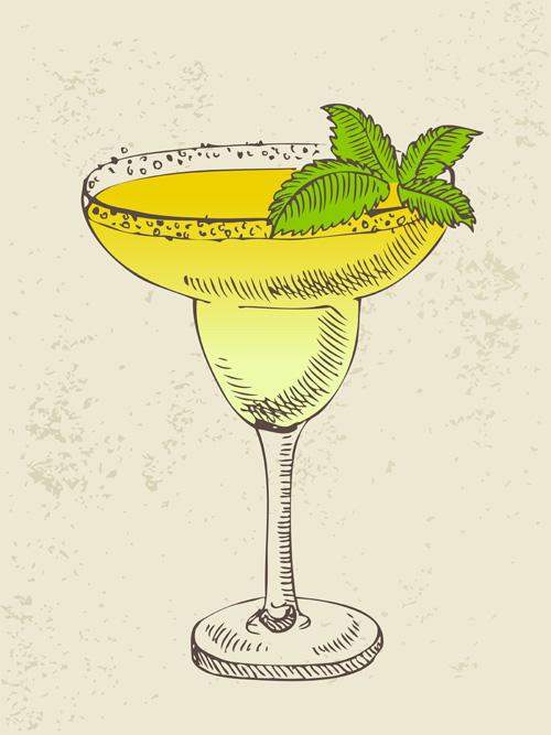Retro cocktail design vector set 10