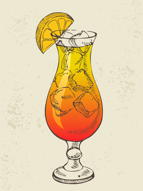 Retro cocktail design vector set 13