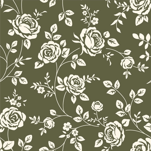 Retro roses seamless patterns design vector 01