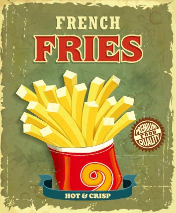 Retro vintage fast food poster design vector 01